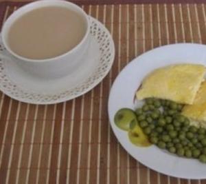 омлет чай с молоком
